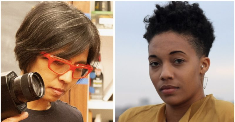 Two photographs side by side. Left photograph: A gender nonconforming Taiwanese woman with salt and pepper hair and red glasses is holding a Super 8 camera in her right hand. Her head is angled and she looks downward, listening to an off screen sound recording. Right photograph: A cis, Black American/Dominican woman with short, curly hair looks directly at the camera. She is shown in a partial profile, wearing a yellow top and a neutral expression.