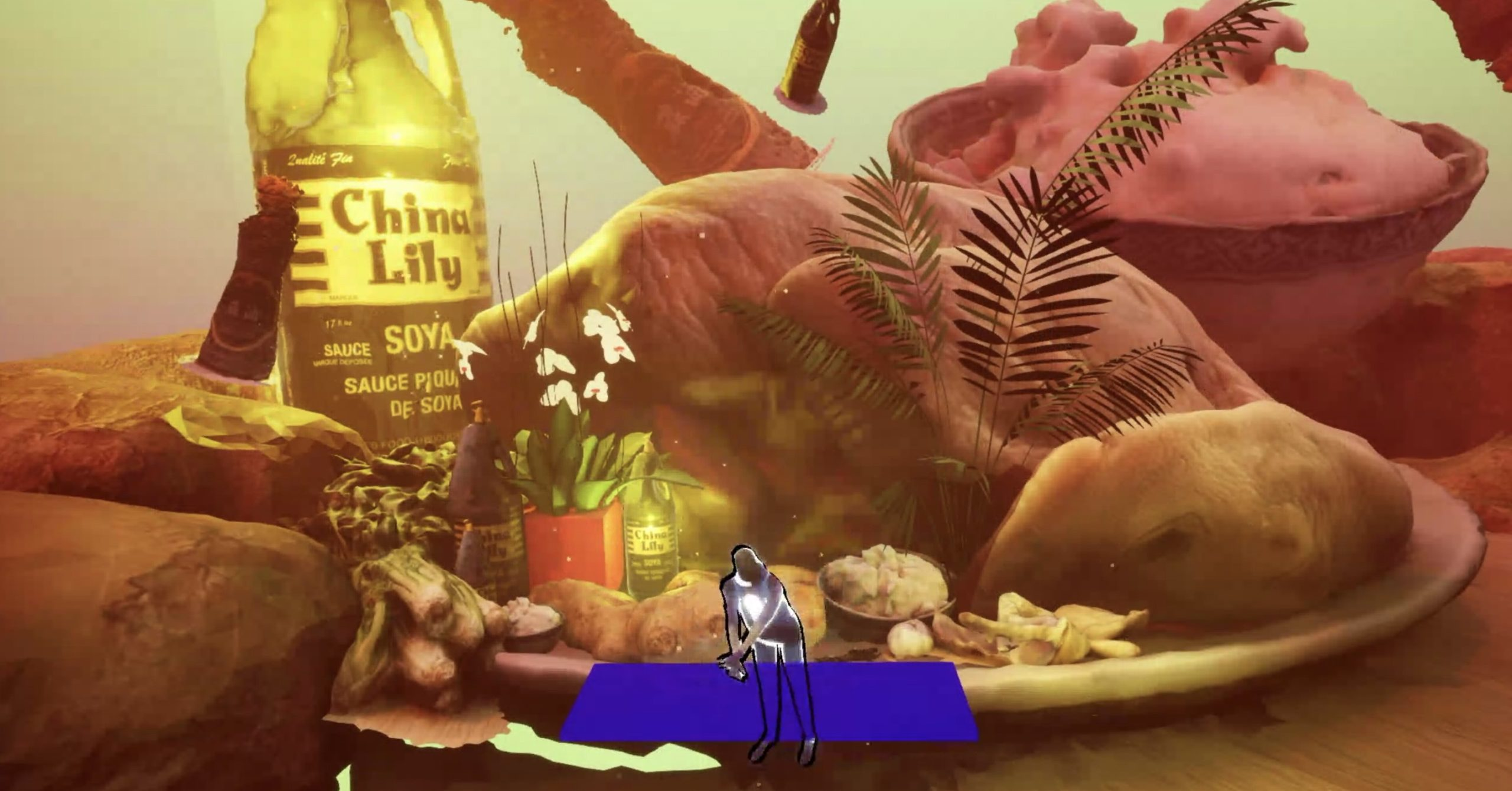 A digital collage of a close-up of chicken and other ingredients. It is mostly orange. On the bottom middle of the screen is a transluscent avatar standing in front of a deep blue table.