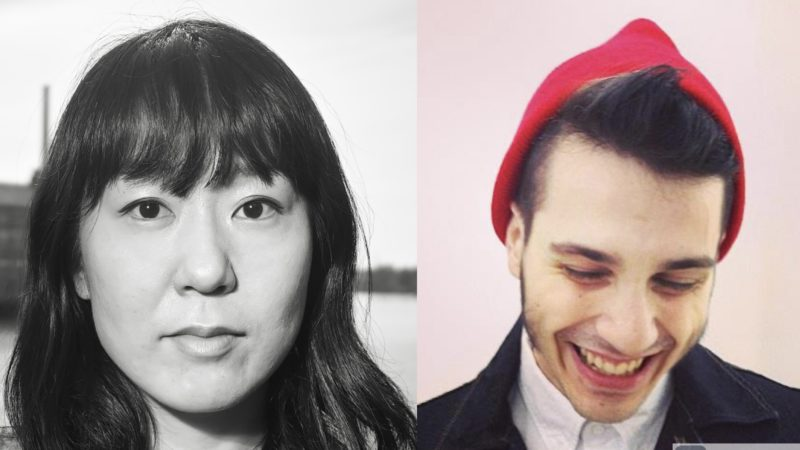 Two photographs, side by side. On the left: A black and white photograph of Hanae Utamura, a woman with shoulder length black hair, who is looking directly into the camera lens. On the right, Jacob Nelsen-Epstein, who is wearing a red hat, and is looking downward, smiling.